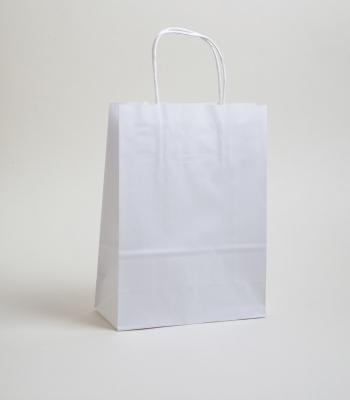 Sodrottfüles papírtáska 18x8x23 cm fehér