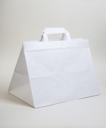 Szalagfüles elviteles papírtáska 32x23,5x21 cm fehér