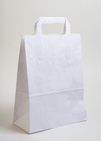 Szalagfüles papírtáska 26x35x12 cm fehér
