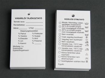 2 oldalas vásárlói tájékoztató papírcímke