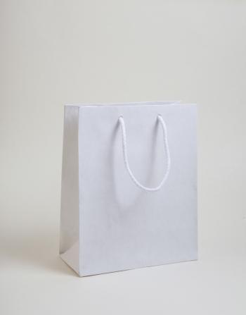 Zsinórfüles papírtáska 20x23x10 cm fehér