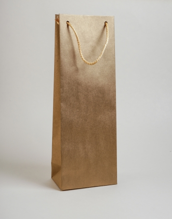 Zsinórfüles papírtáska 13x35x8 cm boros arany