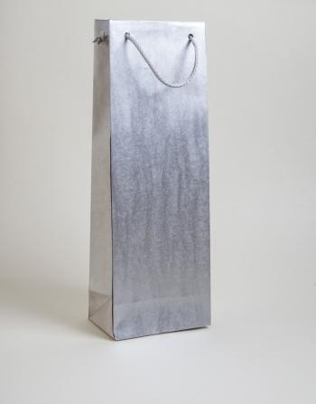 Zsinórfüles papírtáska 13x35x8 cm boros ezüst