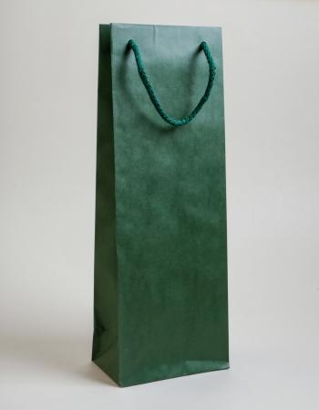 Zsinórfüles papírtáska 13x35x8 cm boros sötétzöld