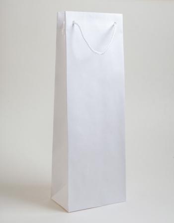 Zsinórfüles papírtáska 13x35x8 cm boros fehér