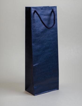 Zsinórfüles papírtáska 13x35x8 cm boros sötétkék