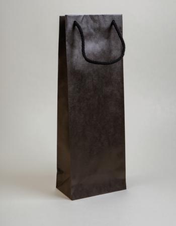 Zsinórfüles papírtáska 13x35x8 cm boros fekete