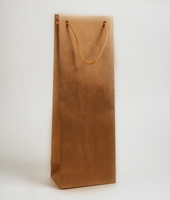 Zsinórfüles papírtáska 13x35x8 cm boros barna