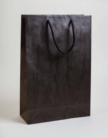 Zsinórfüles papírtáska 24x35x8 cm fekete