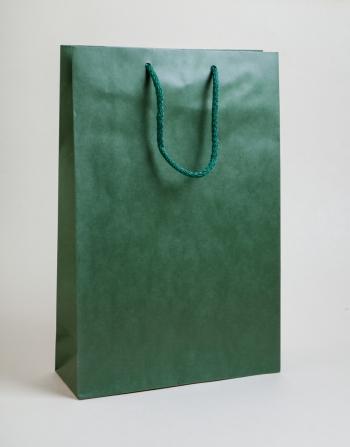 Zsinórfüles papírtáska 24x35x8 cm sötétzöld