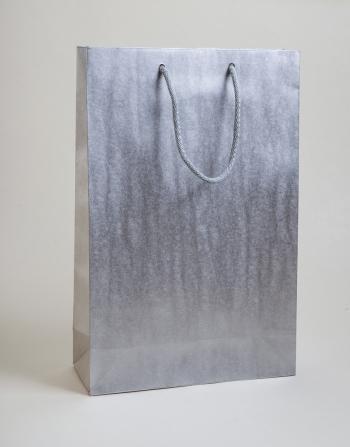 Zsinórfüles papírtáska 24x35x8 cm ezüst