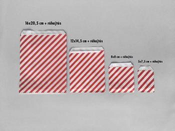 Csíkos papírtasak 16x20,5 cm-es méretben