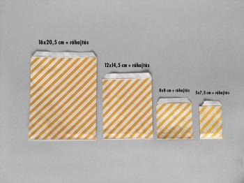Csíkos papírtasak 12x14,5 cm-es méretben